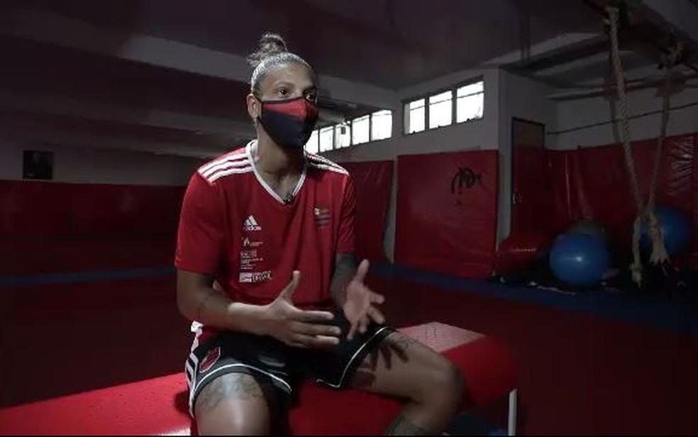 Rafaela Silva teve dificuldades no retorno aos treinos — Foto: Reprodução