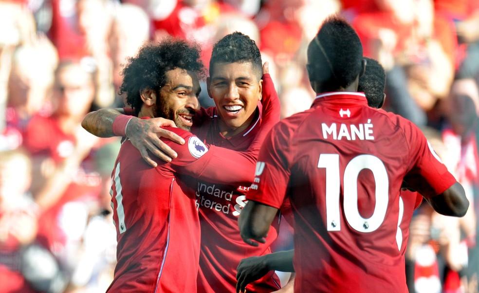 Trio de frente do Liverpool: Mané, Salah e Firmino — Foto: REUTERS