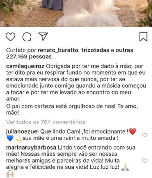 Marina Ruy Barbosa comenta post de Camila Queiroz (Foto: Reprodução)