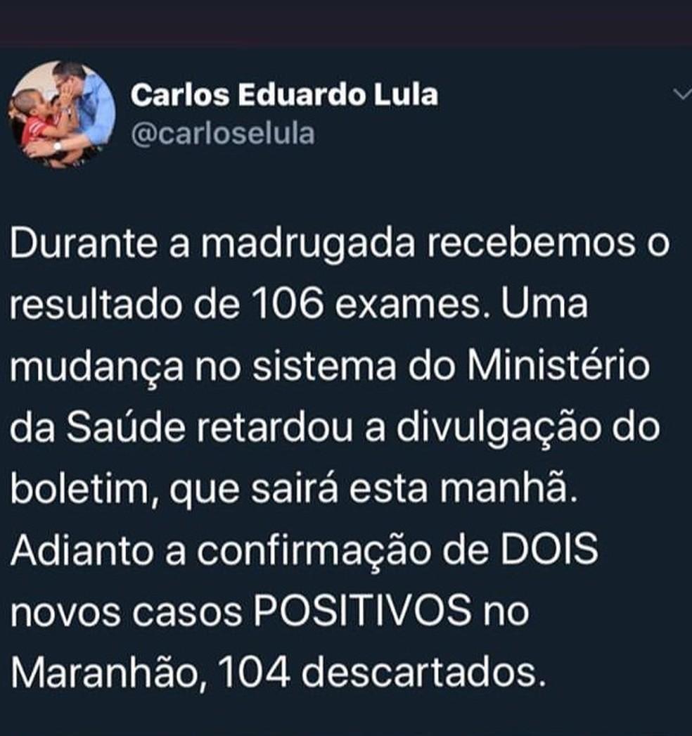 Secretário de Saúde do Maranhão confirma mais dois novos casos do novo coronavírus por meio de uma rede social — Foto: Divulgação/Redes Sociais