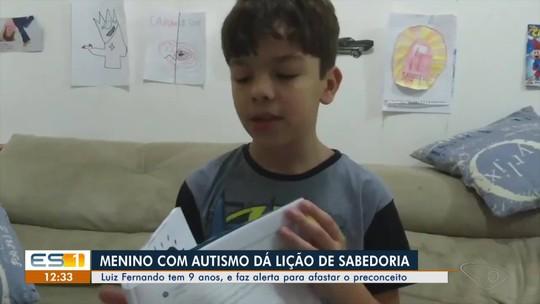 Menino com autismo faz alerta para afastar o preconceito e vídeo viraliza no ES
