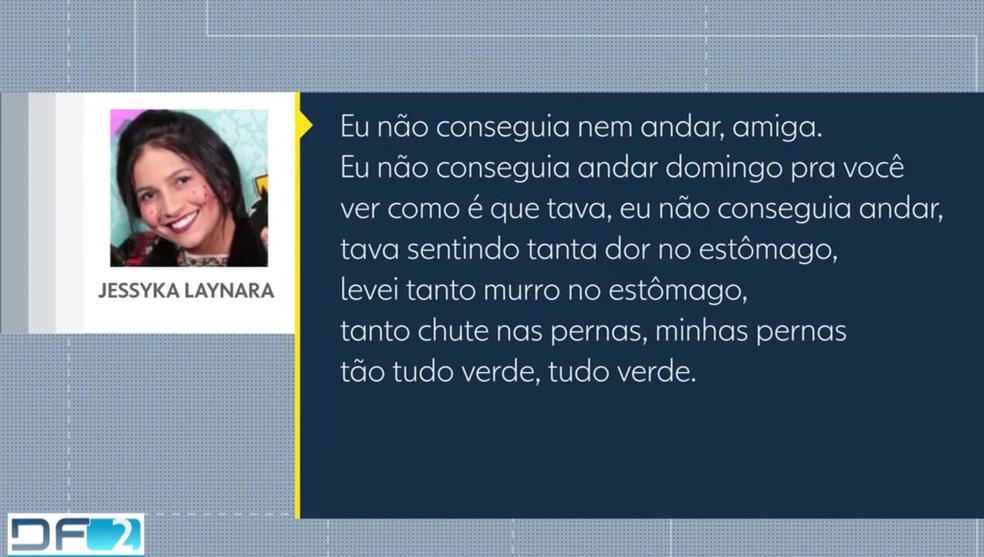 Transcrição do áudio enviado por Jéssyka à amiga (Foto: TV Globo/Reprodução)