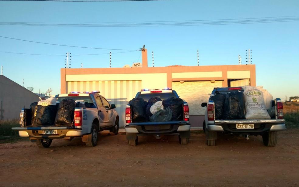 Foi preciso usar três caminhonetes da polícia para carregar a droga (Foto: Divulgação/Polícia Civil)
