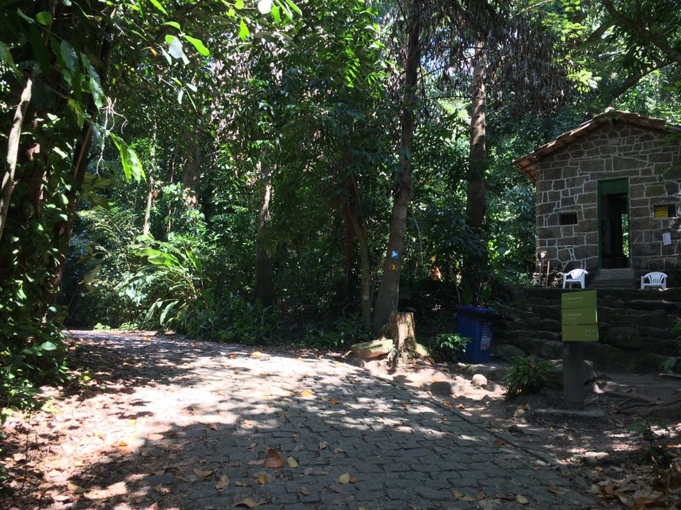 Início da trilha Parque Lage-Cristo Redentor, que dura duas horas — Foto: Cristina Boeckel/G1