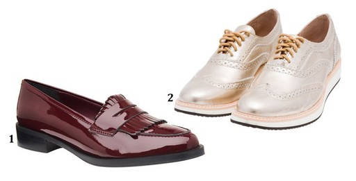 1. Loafer de verniz Corello, R$ 269,90. 2. Oxford flatform metálico My Shoes, no OQVestir, R$ 297