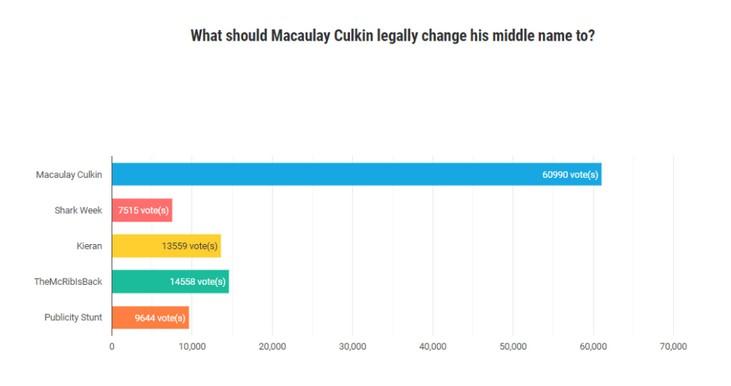 O resultado final da pesquisa que rebatizou Macaulay Culkin como Macaulay Macaulay Culkin Culkin (Foto: Reprodução)