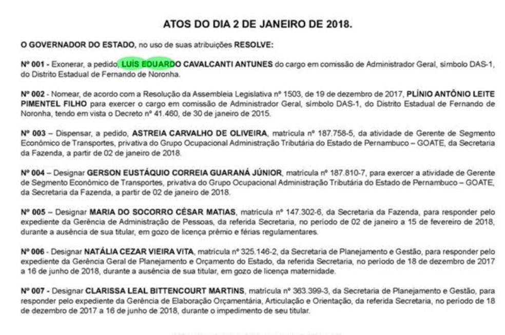 Ato de exoneração de Luís Eduardo Antunes  (Foto: Diário Oficial de Pernambuco )