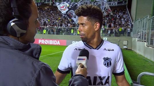 """""""Muito castigo"""", diz Naldo, autor do gol do Ceará contra o Atlético-MG"""