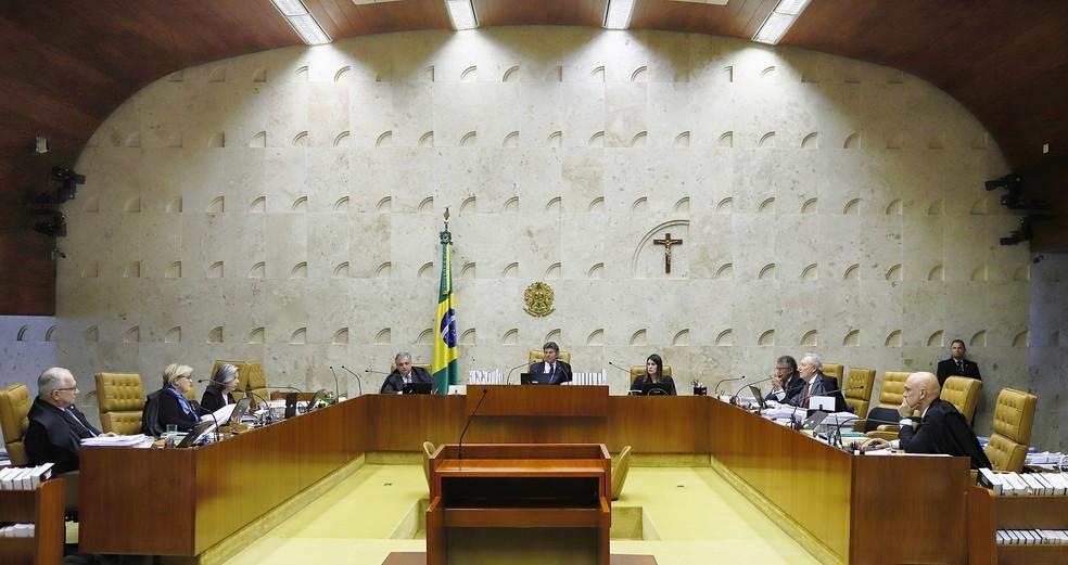 Os ministros do Supremo Tribunal Federal reunidos durante sessão desta quinta-feira (22) — Foto: Rosinei Coutinho/STF