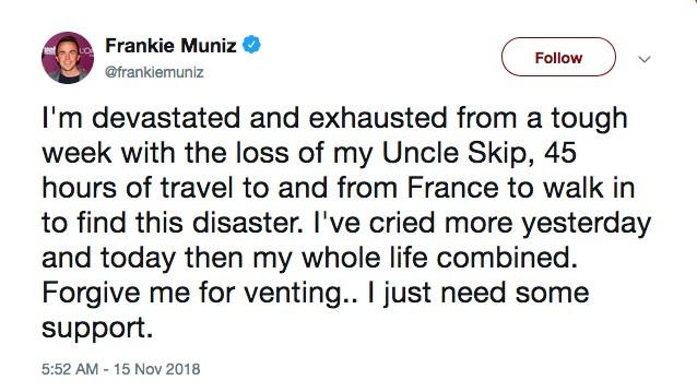 O ator Frankie Muniz falando estar devastado e cansado com seu retorno da França e a destruição encontrada por ele em casa (Foto: Twitter)