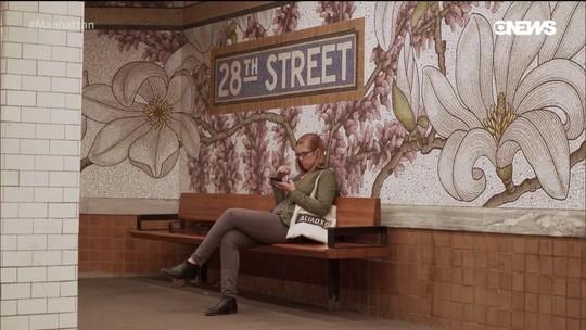 Pedro Andrade foi até a estação de metrô da Rua 28 conferir instalação de Nancy Blum