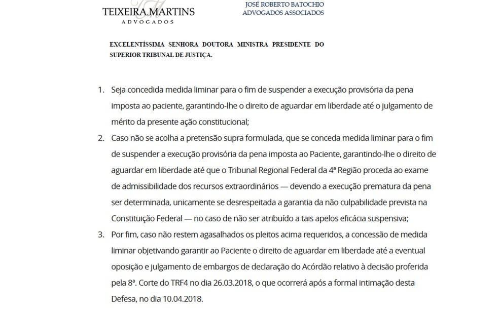 Pedido de habeas corpus da defesa de Lula (Foto: Reprodução)