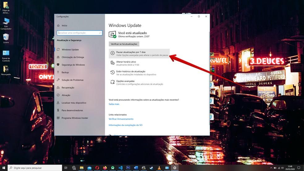 Pausar o Windows Update pode evitar transtornos com atualizações surpresa — Foto: Reprodução/Filipe Garrett