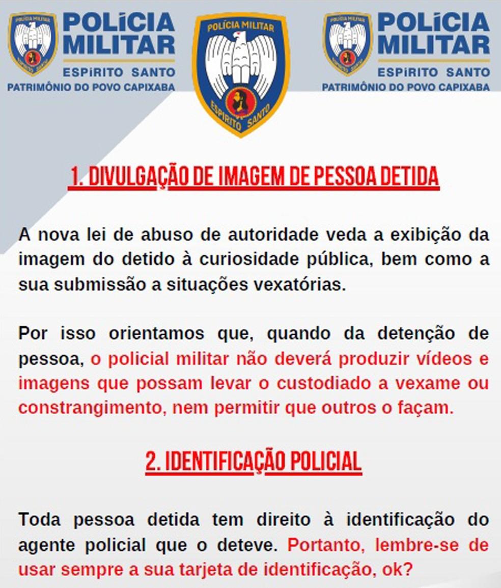 PM do ES faz cartilha 'lembrando' policiais de usar a identificação profissional e para não divulgarem imagens de pressos — Foto: Reprodução
