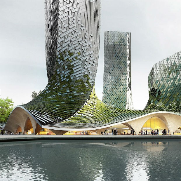 Arquitetos franceses querem construir torre com biofachada na China (Foto: Divulgação)