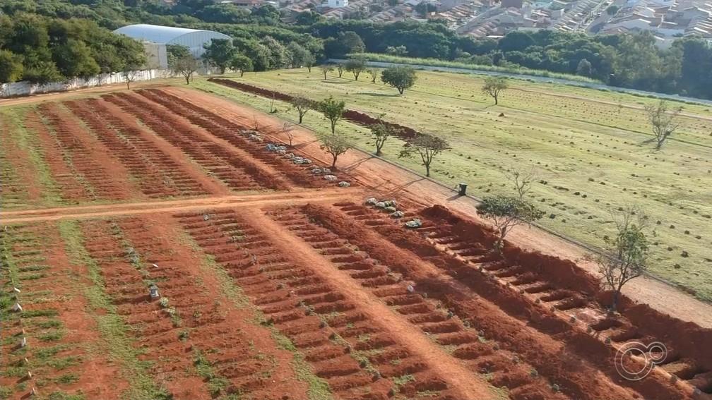 Imagens aéreas mostram covas abertas em cemitério de Sorocaba (SP) — Foto: Witter Veloso/TV TEM