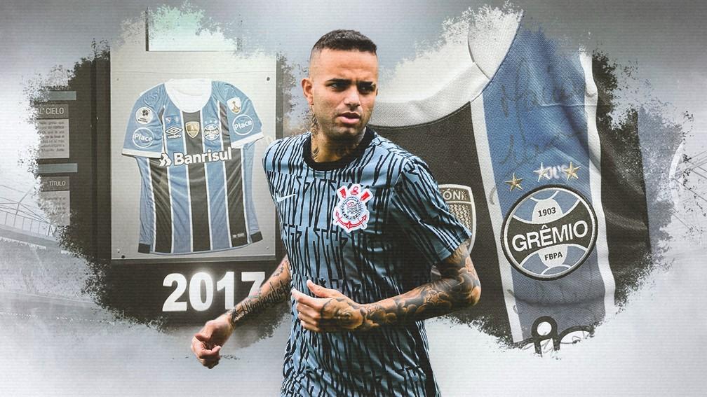 Camisa do Grêmio com assinatura de Luan ao fundo, no Museu da Conmebol — Foto: Infoesporte