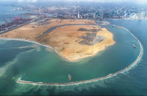Cidade portuária que está sendo construída no Siri Lanka  (Foto: Divulgação/PortcityColombo)