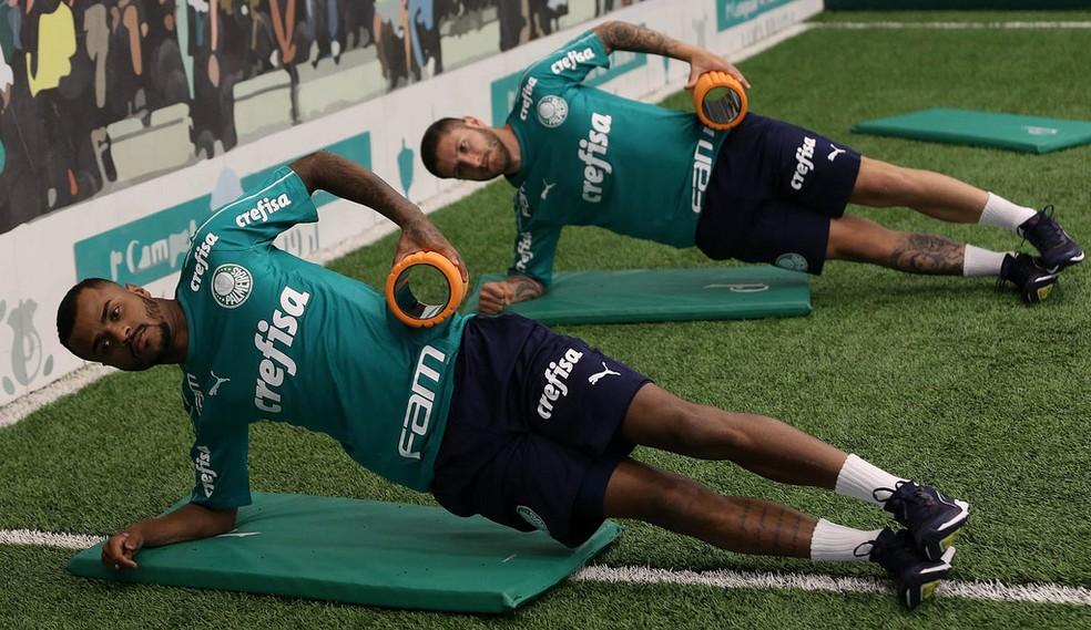 Felipe Pires e Zé Rafael em treino do Palmeiras — Foto: Cesar Greco/Ag Palmeiras