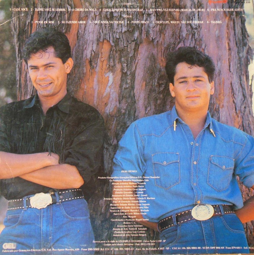 Leandro (esquerda) e Leonardo em capa de disco de 1990 (Foto: Divulgação)