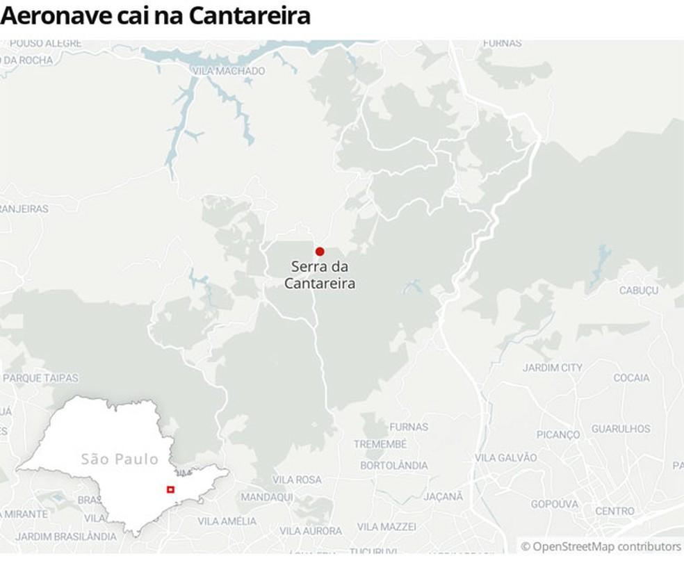 Aeronave de pequeno porte caiu na Serra da Cantareira — Foto: Editoria de Arte/G1