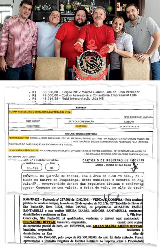 GRANDE FAMÍLIA Lula e família. Uma de suas empresas transferiu R$ 48 mil a Fernando Bittar, sócio de um dos filhos do petista e dono de um sítio abribuído ao ex-presidente (Foto:  )