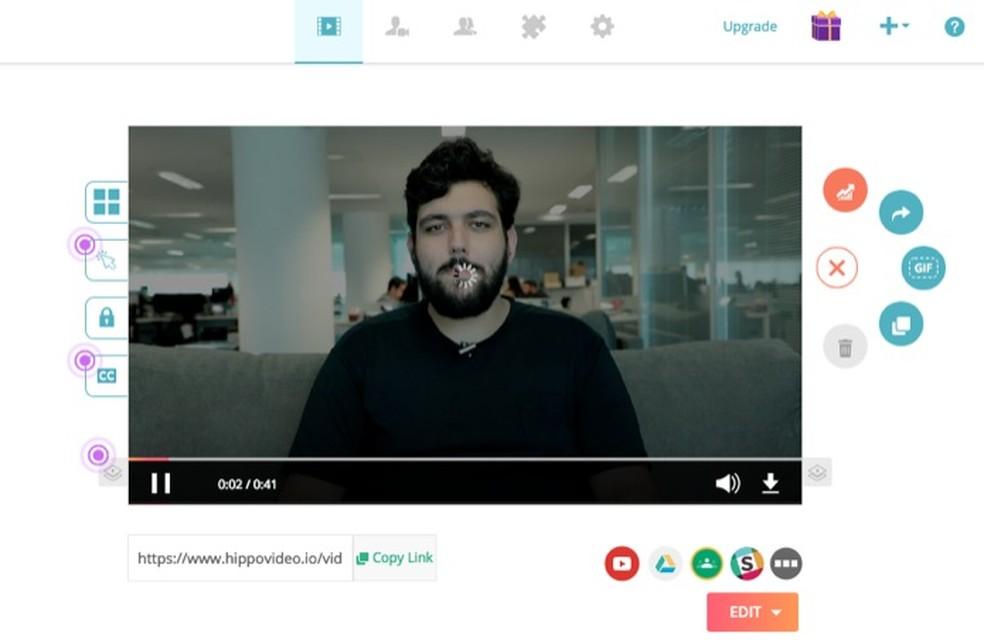 Tela para edição de vídeos do serviço Hippo Video — Foto: Reprodução/Marvin Costa