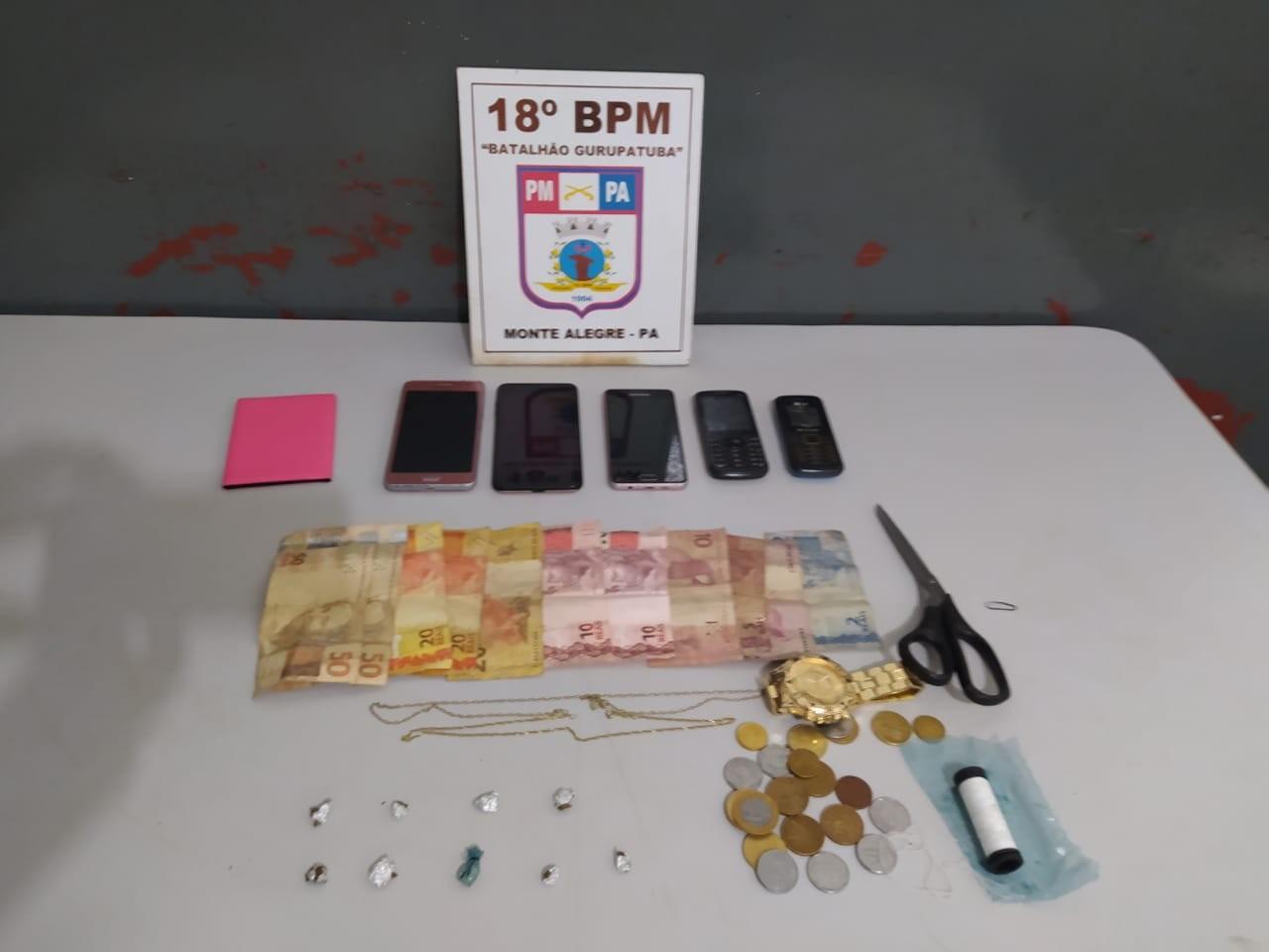 Suspeita de tráfico de drogas é presa no bairro Portelinha, em Monte Alegre