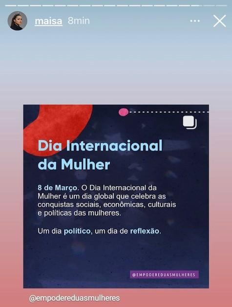Maisa Silva compartilhou uma postagem sobre o que já foi conquistado e o que precisa mudar para as mulheres no país  (Foto: Reprodução)