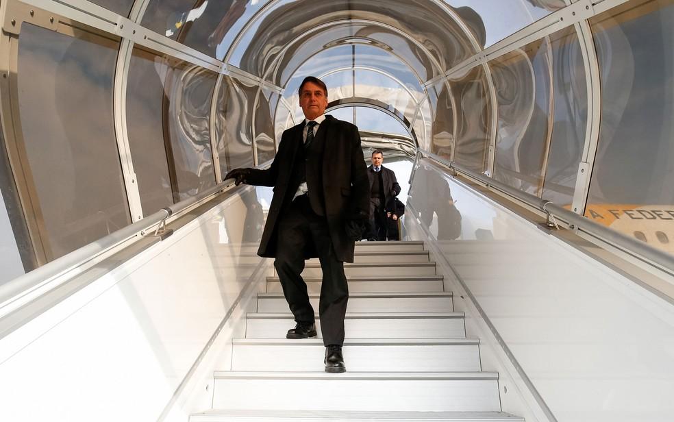 O presidente do Brasil, Jair Bolsonaro, chegou ontem à Suíça para participar do Fórum de Davos — Foto: Alan Santos/PR