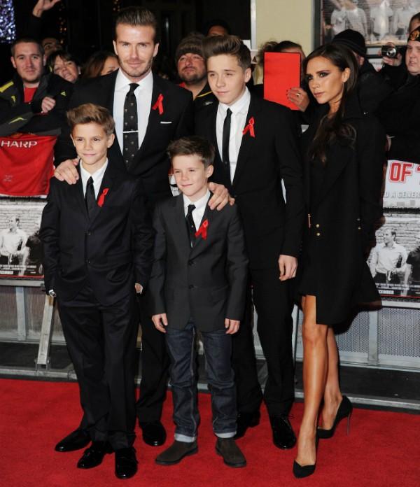 Romeo Beckham, David Beckham, Cruz Beckham, Brooklyn Beckham e Victoria Beckham (Foto: Getty Images)