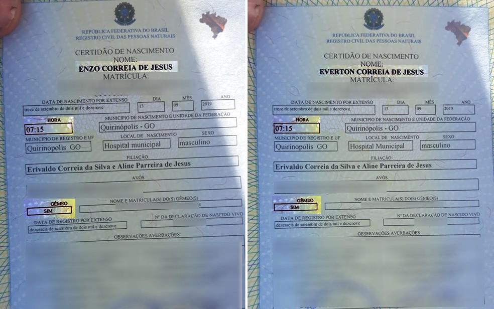 Pais registraram os dois bêbes com base em documentos recebidos do hospital — Foto: Reprodução/TV Anhanguera