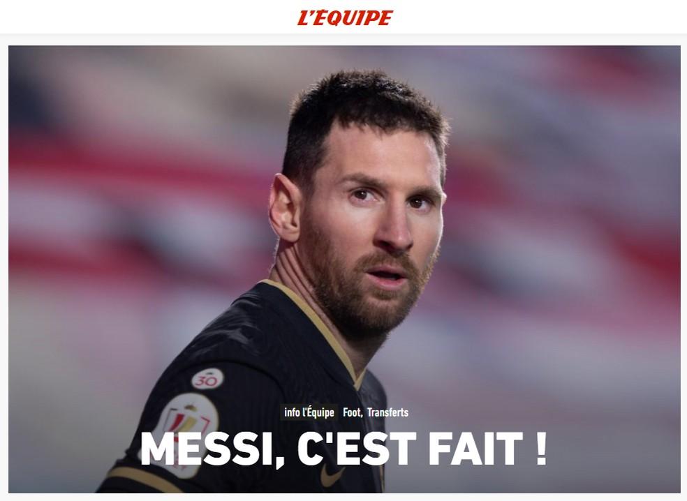 """""""Messi, está feito"""": jornal """"L'Équipe"""" garante acordo de Messi com o PSG — Foto: Reprodução/L'Équipe"""
