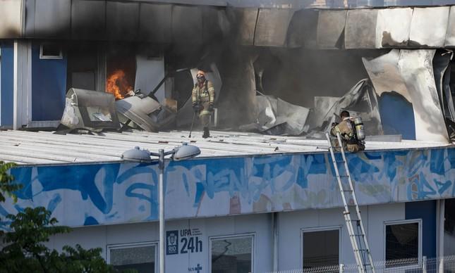 Hospital Lourenço Jorge durante incêndio, em 2018: três mortos