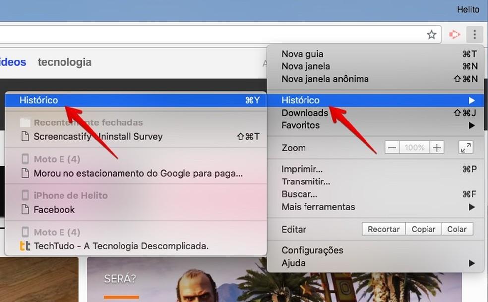 Abra o histórico de navegação do Chrome (Foto: Reprodução/Helito Bijora)