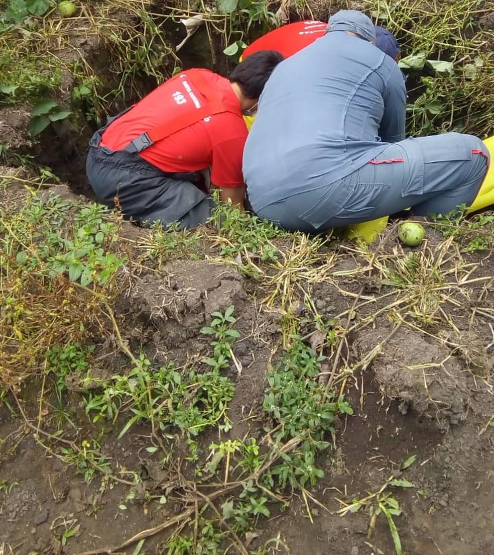 Bombeiros resgatam idoso que caiu em fossa em Otacílio Costa — Foto: Corpo de Bombeiros/Divulgação