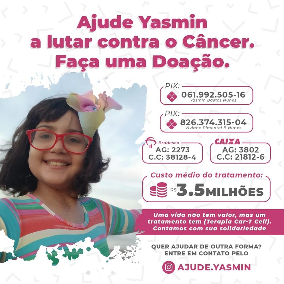 Campanha para ajudar Yasmin Nunes — Foto: Arquivo Pessoal