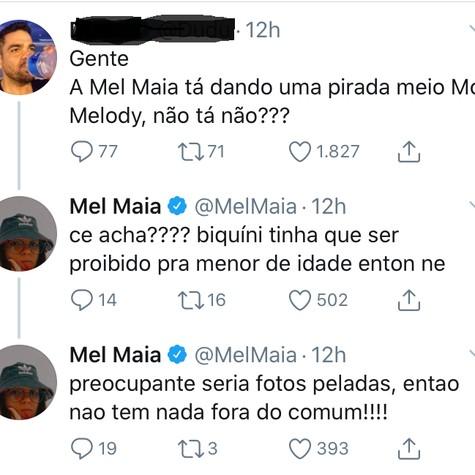 Mel Maia responde a seguidor no Twitter (Foto: Reprodução)