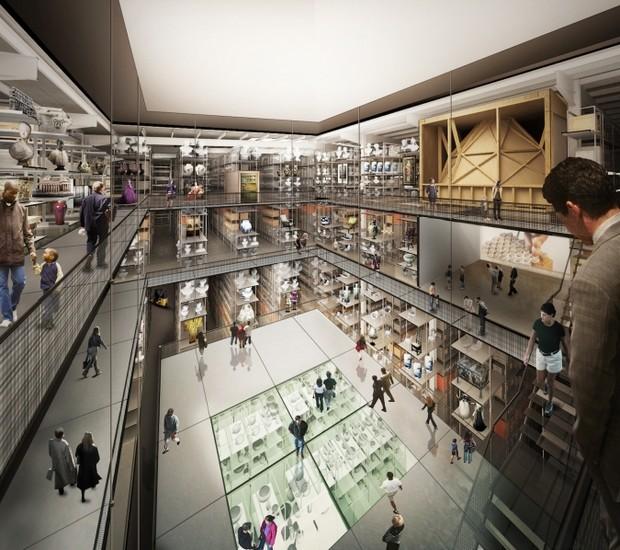 Render da vista interna do projeto do novo Victoria & Albert, em Londres, assinado por Diller Scofidio + Renfro   (Foto: Reprodução  V&A, © Diller Scofidio + Renfro,)