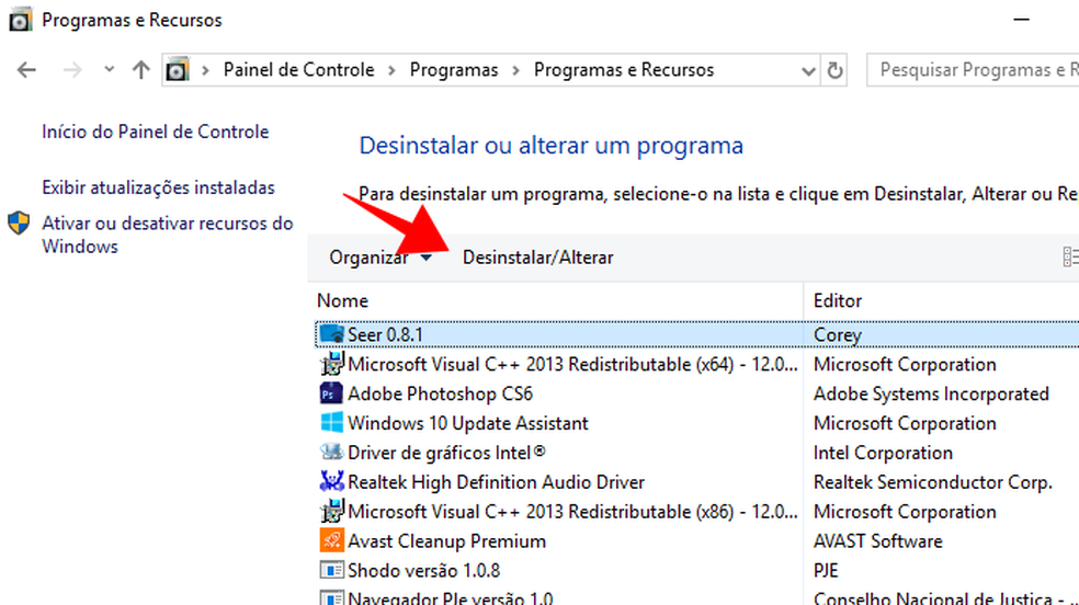 Encontre o Skype na lista de programas e remova-o do computador (Foto: Reprodução/Paulo Alves)