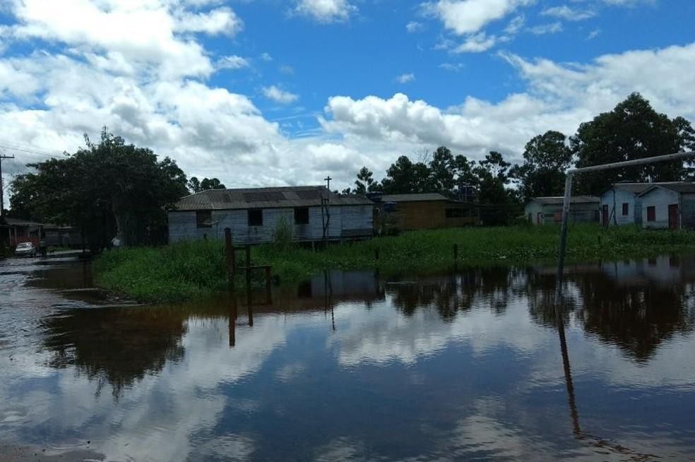 -  Nova inundação atingiu desalojou mais de 80 em Laranjal do Jari  Foto: Defesa Civil Estadual/Divulgação