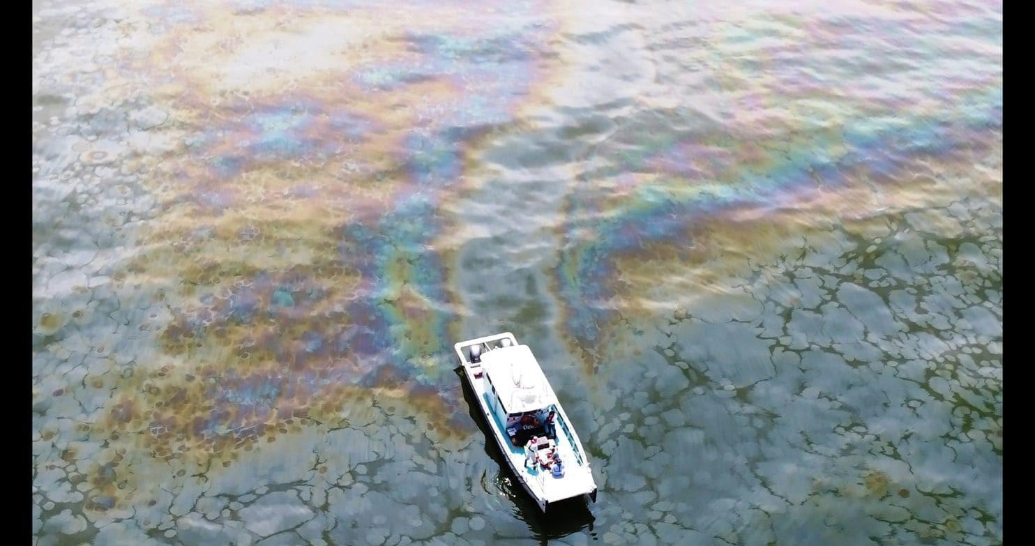 Uma imagem aérea de uma mancha de óleo no Golfo do México, tomada em 28 de abril de 2018.  (Foto: Oscar Garcia-Pineda)
