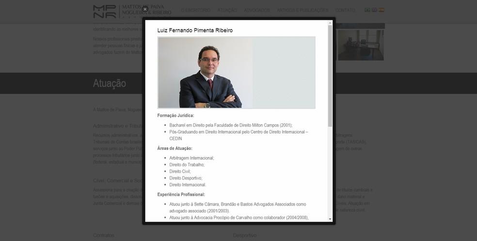 Currículo de Luiz Fernando Pimenta Ribeiro (Foto: Reprodução/Site da Mattos de Paiva Nogueira & Ribeiro Advogados)