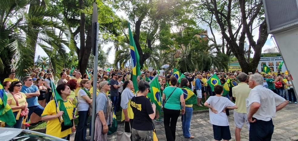 Com bandeiras do Brasil, manifestantes se reúnem em frente à Justiça Federal neste sábado (9) — Foto: Victor Hugo Bittencourt/RPC