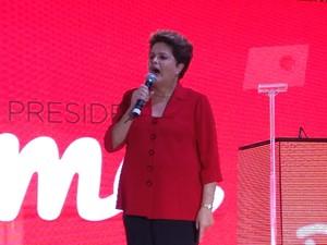 Dilma fez discurso de cerca de uma hora durante convenção do PT  (Foto: Natalia Godoy/G1)