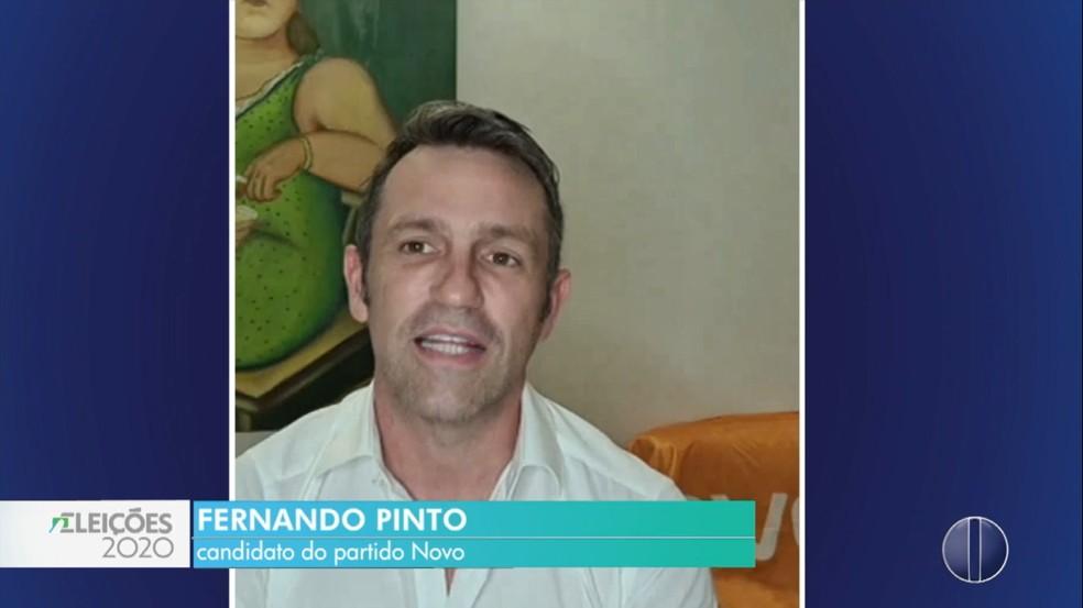 Fernando Pinto, do Novo, foi diagnosticado com Covid-19, segundo equipe de campanha — Foto: Reprodução/Inter TV Cabugi