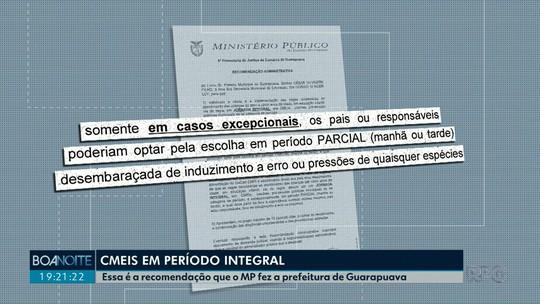 Ministério Público recomenda que CMEIs de Guarapuava funcionem com período integral
