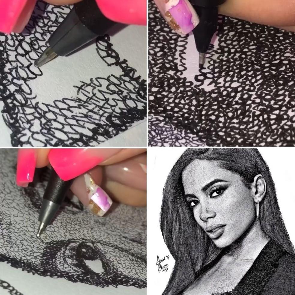 Artista faz desenhos de famosos com escrita— Foto: Reprodução/Instagram