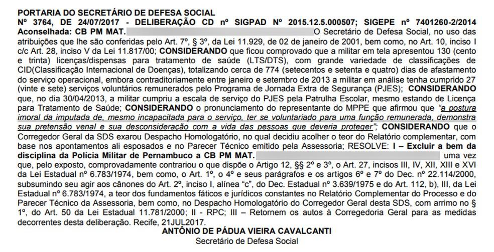 Decisão foi publicada no dia 25 deste mês no Boletim Geral da Secretaria de Defesa Social (SDS) (Foto: Reprodução/Boletim Geral da SDS)