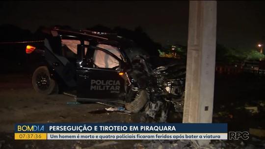 Um homem morre e quatro policiais ficam feridos após carro da PM bater contra poste em perseguição